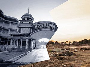 Nara Dreamland amusement park before and after the demolition in Nara, Japan, combination of photos by Victor Habchy and Ivan Kralj