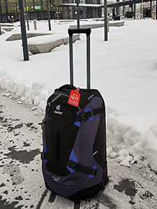 Backpack in the snowy surrounding of Zagreb airport, photo by Ivan Kralj