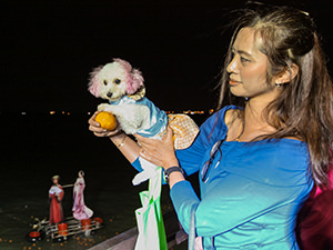 The poodle dog and her owner are posing with a mandarine orange on Chap Goh Mei, Chinese Valentine's Day, when unmarried females should throw the orange with their name into the sea, in a hope that it will bring them a good spouse, in George Town, Penang, Malaysia, photo by Ivan Kralj