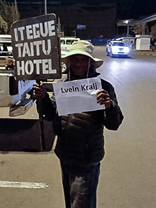 "Driver of Itegue Taitu Hotel holding a welcome sign saying ""Lveln Kralj"", while waiting for Pipeaway blogger Ivan Kralj's arrival at Addis Ababa airport, photo by Ivan Kralj"