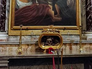 Saint Valentine's skull displayed in the side altar in the Basilica of Santa Maria in Cosmedin, Rome, Italy, photo by Ivan Kralj