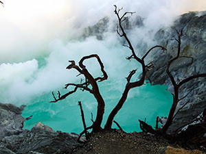 Turquoise blue acidic crater lake of Kawah Ijen Volcano behind the dry trees, with clouds floating through, East Java, Indonesia, photo by Ivan Kralj