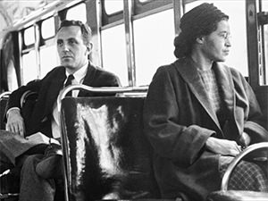 "In 1955, Rosa Parks refused to give up her seat in the bus to the white passenger and entered history as ""the mother of the freedom movement"""