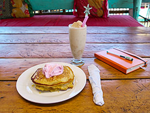 Pancakes with icecream and shake in Man'Groove guesthouse in Kampot, Cambodia, photo by Ivan Kralj