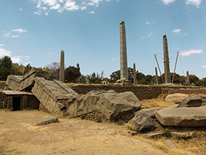 Several obelisks standing in the Northern Stelae Field in Aksum, Ethiopia, while the biggest one, 33 meters in height, fell and broke during the installation, photo by Ivan Kralj