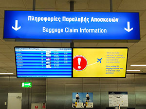 Baggage claim information screen at Athens international airport - during the travel fogginess these become just a forest of numbers, photo by Ivan Kralj