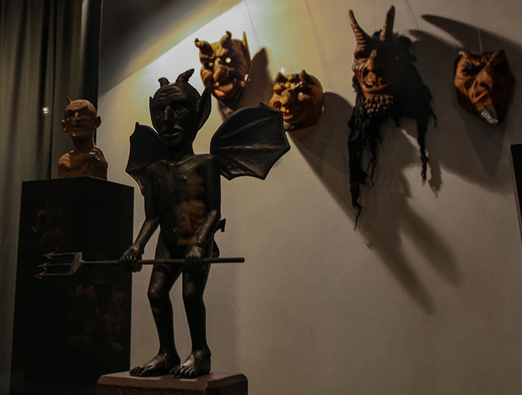 Devil sculptures and masks, devil art displayed at the Devil's Museum in Kaunas, Lithuania, photo by Ivan Kralj
