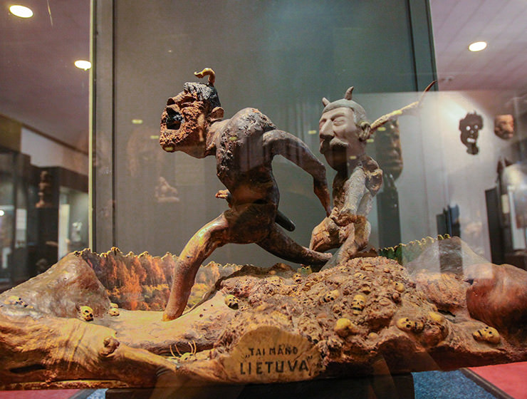 """Hitler and Stalin running over human skulls, artwork """"My Lithuania"""" by Kazys Dereškevičius, displayed at Devil's Museum in Kaunas, Lithuania, photo by Ivan Kralj"""