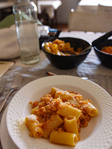 Macaroni with spicy cauliflower sauce served for lunch at Gheralta Lodge, in Tigray Region, Ethiopia, photo by Ivan Kralj