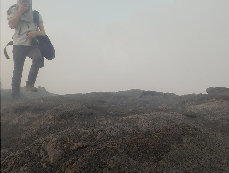 Blogger Ivan Kralj in the fumes of Erta Ale volcano in Ethiopia, photo by Ivan Kralj