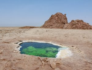 The little lake in Danakil Depression, Ethiopia, the hottest place on Earth, photo by Ivan Kralj