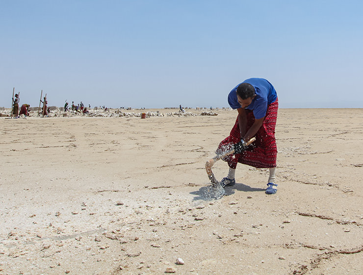 Miner mining the salt at the plains of Lake Assale, Danakil Depression, Ethiopia, the hottest place on Earth, photo by Ivan Kralj
