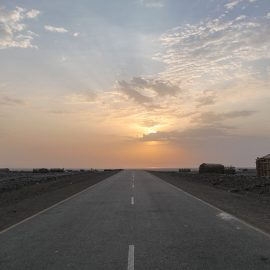 Sunset above the road in Hamed Ela, Danakil Depression, Ethiopia, the hottest place on Earth, photo by Ivan Kralj