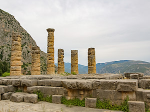 Several standing columns of the Temple of Apollo in Delphi, center of the world, photo by Ivan Kralj
