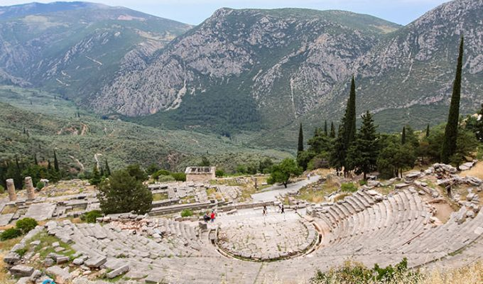 Theater at Delphi Archeological Site in Delphi, center of the world, Greece, photo by Ivan Kralj
