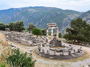 Tholos circular structure at the Temple of Athena Pronaia in Delphi, the center of the world, photo by Ivan Kralj