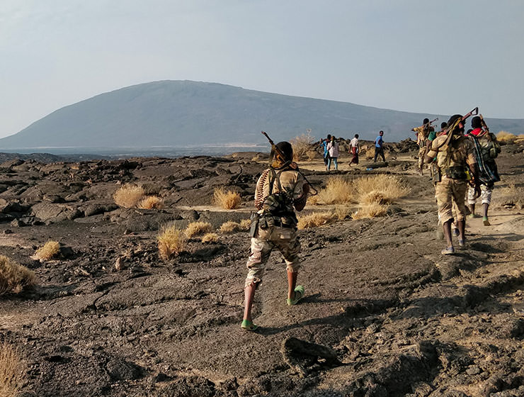Military escort at Erta Ale volcano in Danakil Depression, Ethiopia, the hottest place on Earth, photo by Ivan Kralj