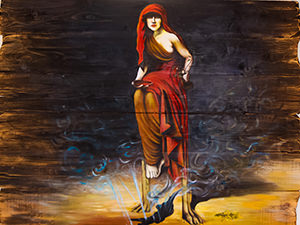 Kastalia Nymph as imagined on the painting in the lobby of Kastalia Boutique Hotel in Delphi, the center of the world, Greece, photo by Ivan Kralj