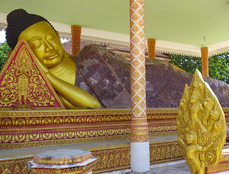 THe golden statue of the sleeping Buddha in a temple in Battambang, Cambodia, photo by Ivan Kralj