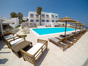 Swimming pool at Paros Bay Hotel, Paros island, one of the best beachfront properties in Cyclades Islands, Greece, photo by Ivan Kralj