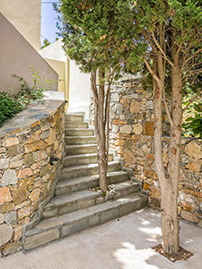 Trees growing in the outdoor staircase at Syra Suites, Syros island, Greece, copyright Syra Suites