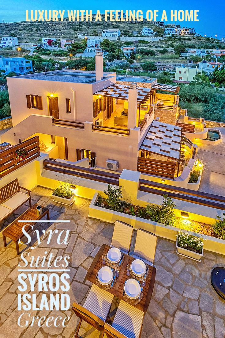 Syra Suites is a luxurious residential complex offering apartments for rent in Achladi, Syros island, Greece. Enjoy the luxury during your Syros holidays, while still feeling like at home!