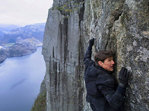 "Tom Cruise hanging on the Preikestolen / Pulpit Rock cliff for the purpose of the movie ""Mission Impossible: Fallout"" (2018)"