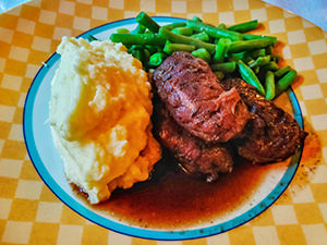 Mashed potato, green beans and pork cheek as dinner at Hauane Bed & Breakfast in Lysebotn, Norway, photo by Ivan Kralj