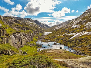 Stream and meadows at Little Stordalen on the way to Kjeragbolten, a famous boulder on Kjerag Mountain, Norway, photo by Ivan Kralj