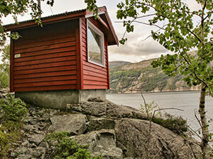 Tiny Radioshed as a glamping option in Flørli, consists of only a roofed bed, with panorama view of Lysefjord, Norway, photo by Ivan Kralj