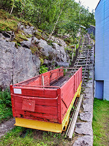 Wagon at the start of Flørlitrappene, the longest staircase in the world, in Flørli, Norway, photo by Ivan Kralj