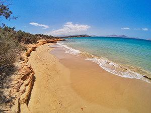 Lageri beach is a sandy FKK area at the eastern edge of Naoussa Bay, Paros, Greece, photo by Ivan Kralj