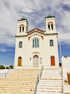 Kimisis tis Theotokou, the parish church of Naoussa, built on the hill overlooking the village, visiting is one of the things to in Naoussa, Paros, Greece, photo by Ivan Kralj