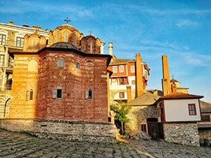 Sunset colors on Vatopedi Monastery, Mount Athos, Greece, photo by Ivan Kralj