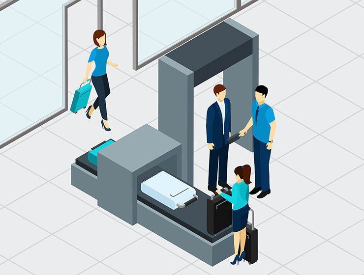 Airport security check graphics by macrovector / Freepik, passengers going through the metal detector, and screening their luggage