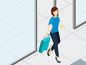 Airport security check graphics by macrovector / Freepik, drawing of a female passenger walking with a trolley suitcase
