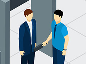 Airport security check graphics by macrovector / Freepik, drawing of a male passenger being searched by a manual metal detector