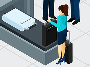 Airport security check graphics by macrovector / Freepik, drawing of a female passenger collecting her suitcase at airport security check