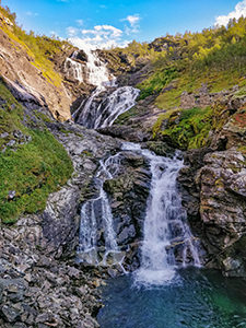Kjosfossen waterfall, a stop between Flam and Myrday on Flam Railway route, one of the reasons to visit Aurland, Norway, photo by Ivan Kralj