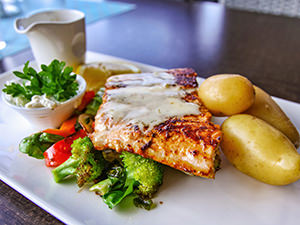 Wild salmon from the Barents Sea, served in Duehuset Pub in Aurland, Norway, photo by Ivan Kralj