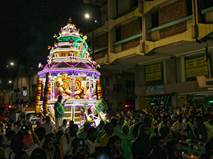 Lord Murugan's silver chariot, decorated with LED lights, leaving Sri Mahamariamman temple in Kuala Lumpur for Batu Caves where Thaipusam Festival 2019 will take place, photo by Ivan Kralj