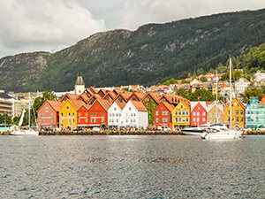 The colorful Wharf at Bryggen, Bergen, Norway, the rainiest city in Europe, photo by Ivan Kralj