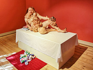"""""""Total Torpor Mad Malaise"""" (2003), a sculpture by American artist Tony Matelli, displayed at Bergen Kunsthall, Norway, photo by Ivan Kralj"""