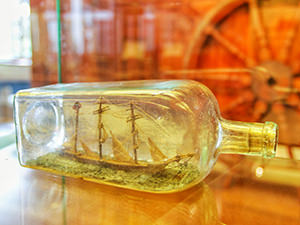 A miniature ship in the bottle at the Maritime Museum in Bergen, Norway, photo by Ivan Kralj