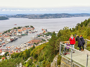 Bergen, Norway, the wettest place in Europe, as seen from above, from Mt. Floyen, photo by Ivan Kralj