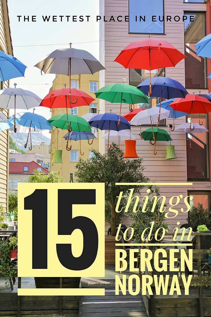 Bergen in Norway is the wettest place in Europe. With 195 rainy days per year, there are still amazing things to do in Bergen, the rainiest European town - here is Pipeaway's top 15!