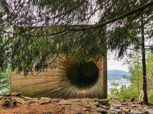 Tubakuba, the wooden mountain cabin with a rabbit hole entrance, built by architecture students on Mt. Floyen in Bergen, Norway, photo by Ivan Kralj