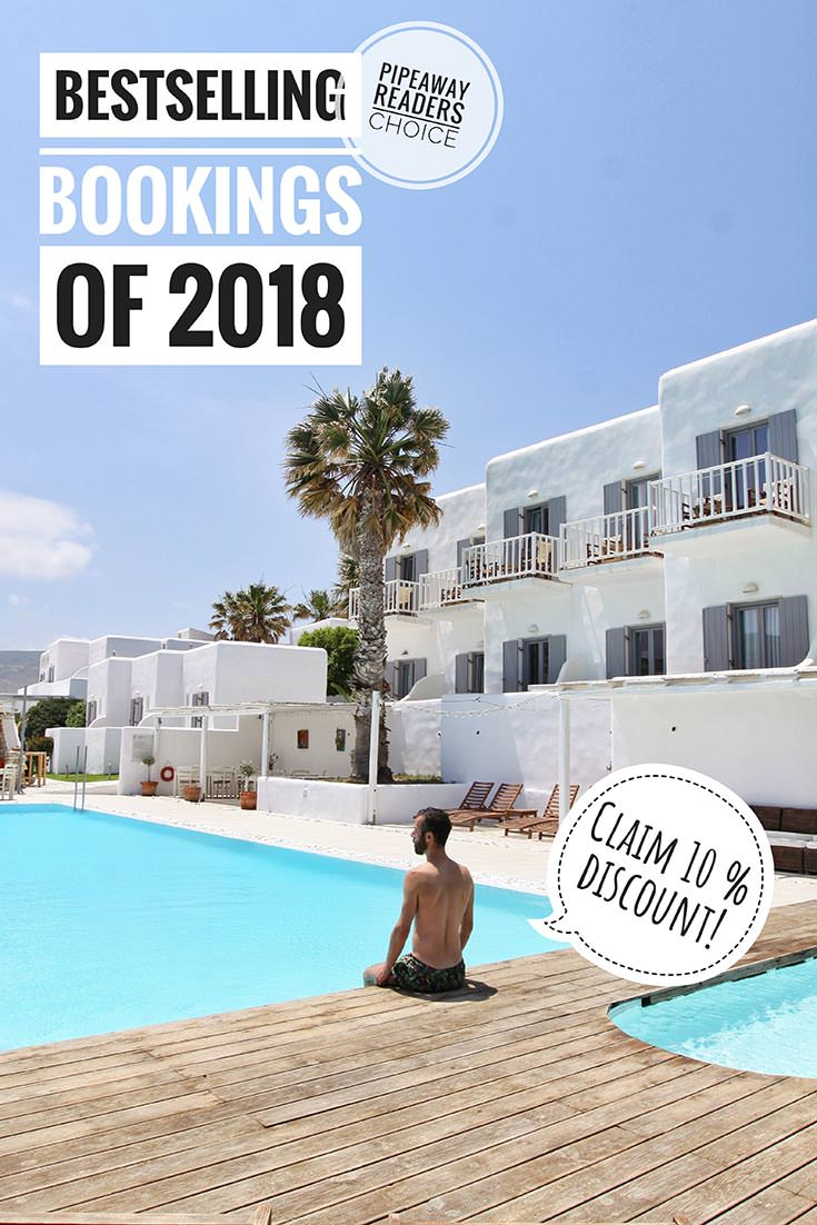 Pipeaway readers have spoken - in 2018 these were the bestselling booking.com properties in Europe among our users. Visit the website to get your 10 % discount for your first hotel booking! You could be enjoying this pool at Paros Bay Hotel in Greece in no time!