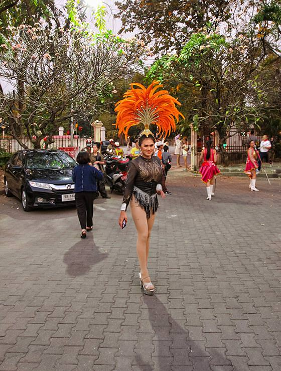 Ladyboy with a feathered headpiece at Chiang Mai Pride, gay parade in Chiang Mai, Thailand, photo by Ivan Kralj