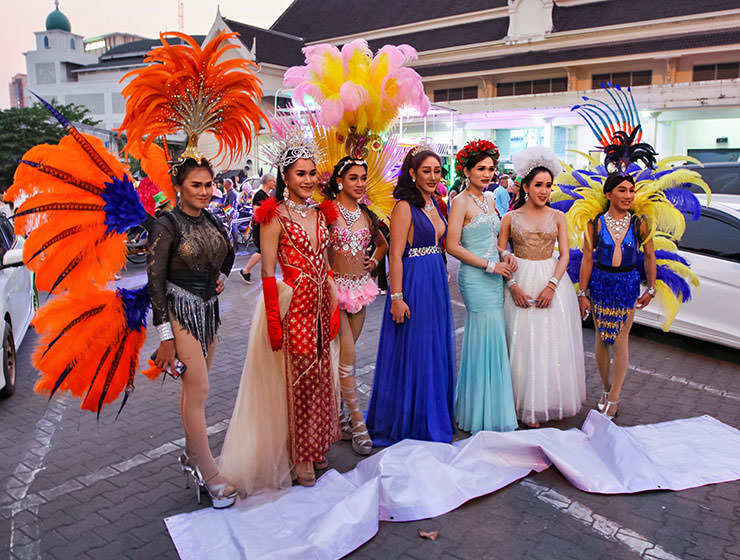Extravagantly dressed ladyboy participants posing at Chiang Mai Pride, gay parade in Chiang Mai, Thailand, photo by Ivan Kralj